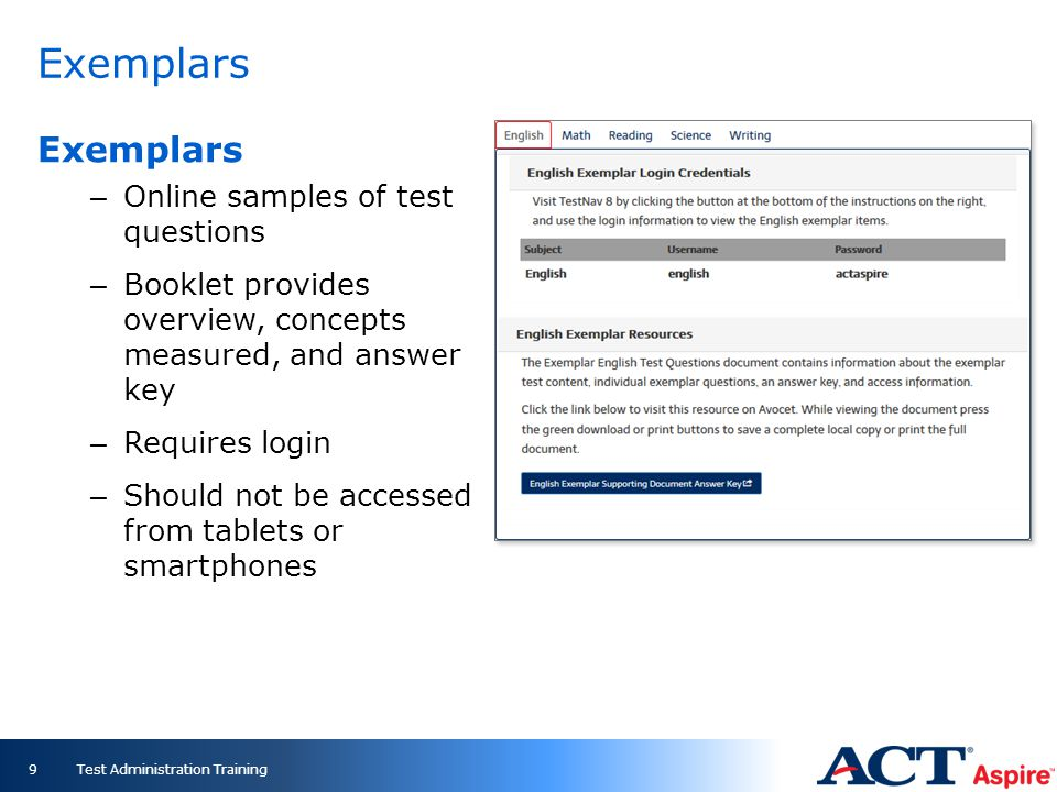 Exemplars Exemplars Online samples of test questions