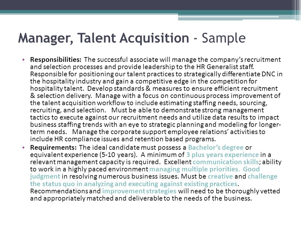 Manager, Talent Acquisition - Sample