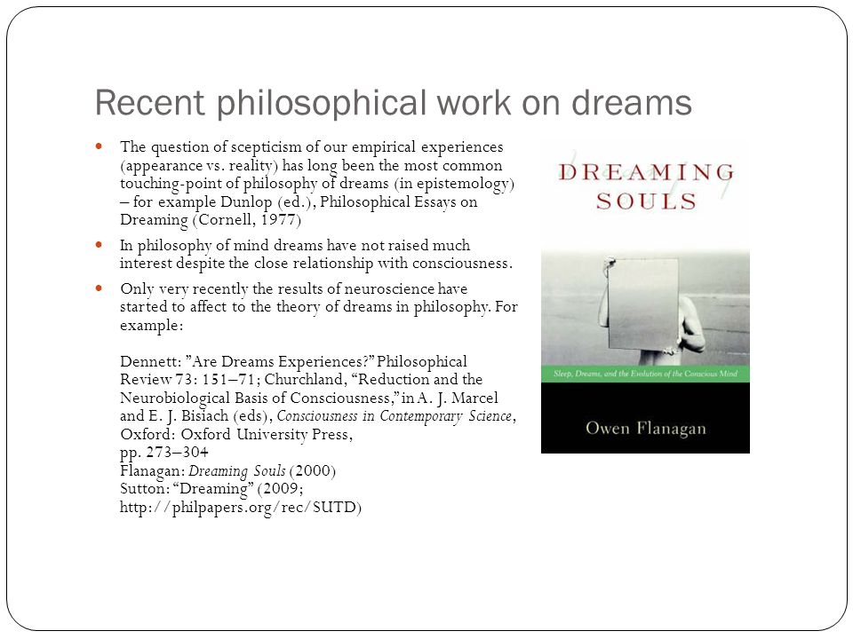 Recent philosophical work on dreams