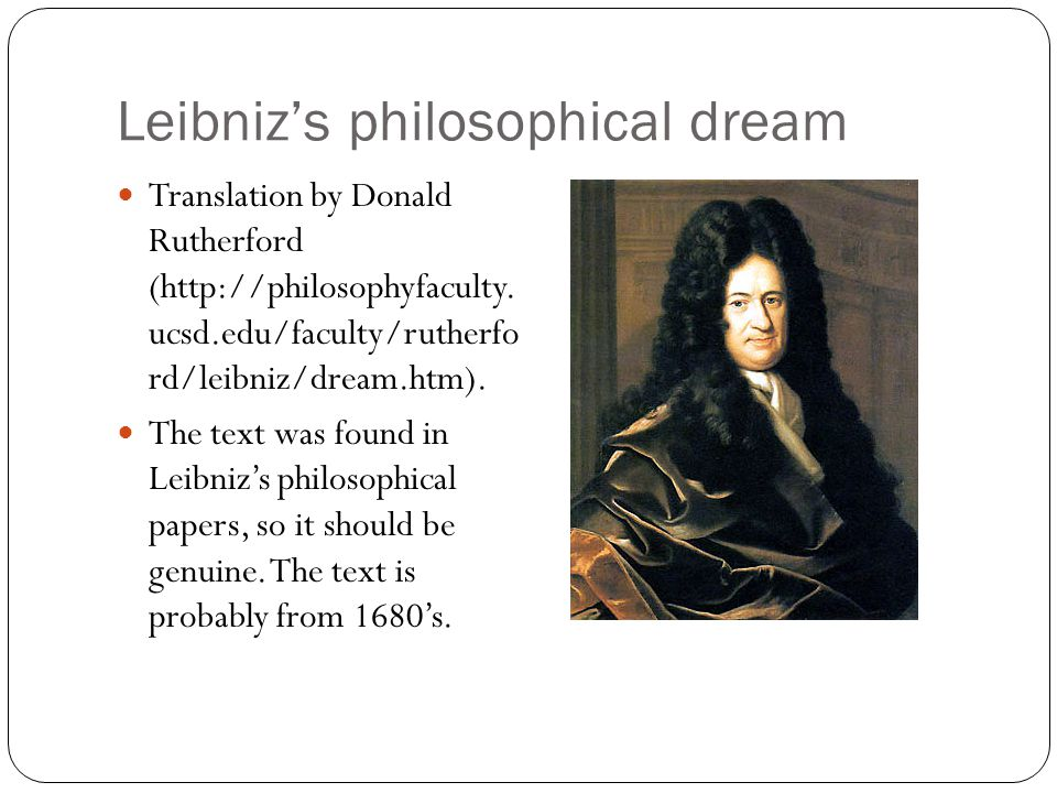 Leibniz's philosophical dream