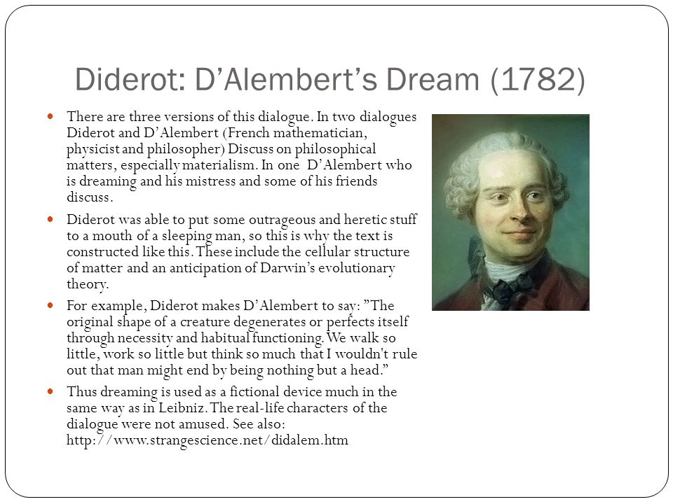 Diderot: D'Alembert's Dream (1782)