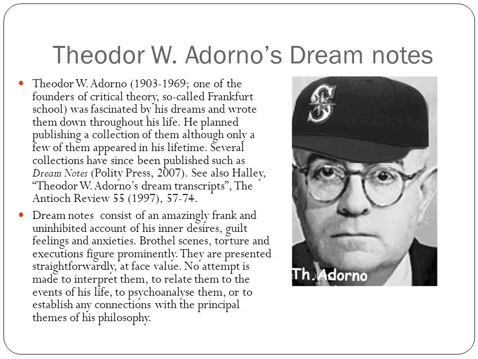 Theodor W. Adorno's Dream notes