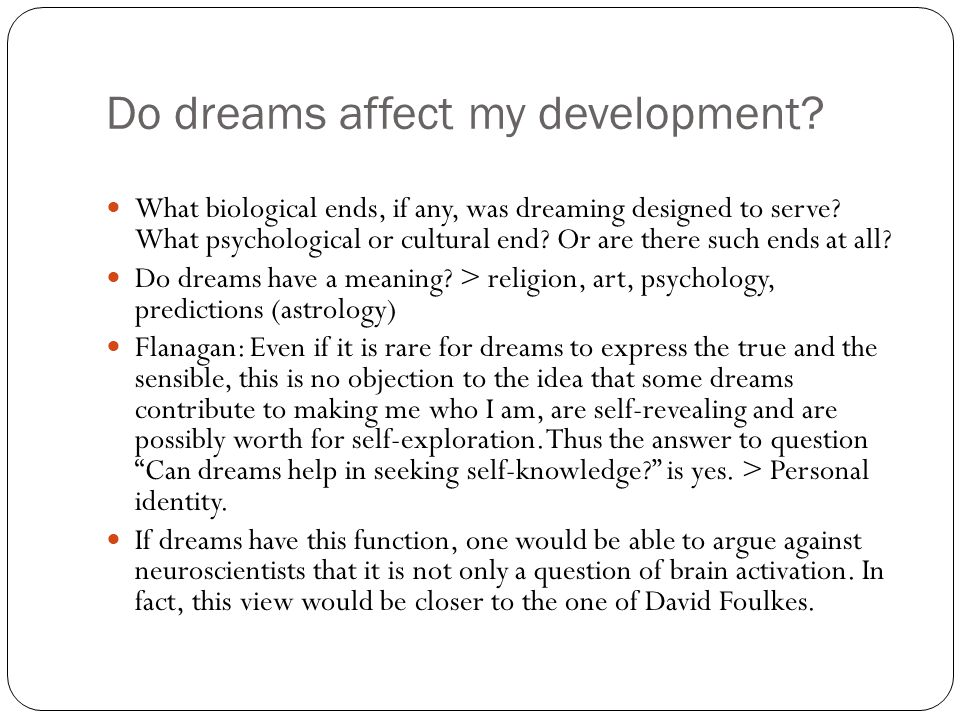 Do dreams affect my development