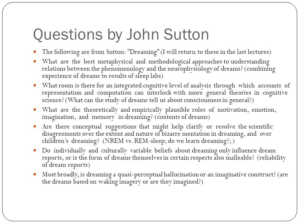 Questions by John Sutton