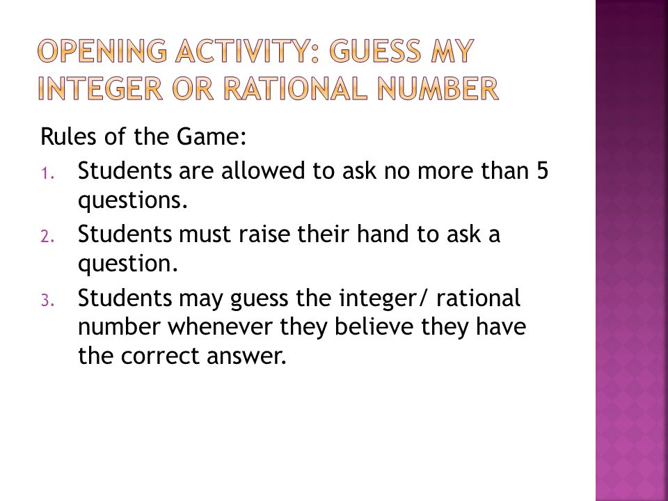 Opening Activity: Guess My Integer or Rational Number