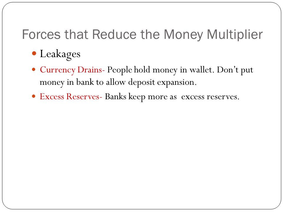Forces that Reduce the Money Multiplier
