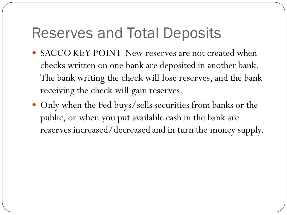 Reserves and Total Deposits