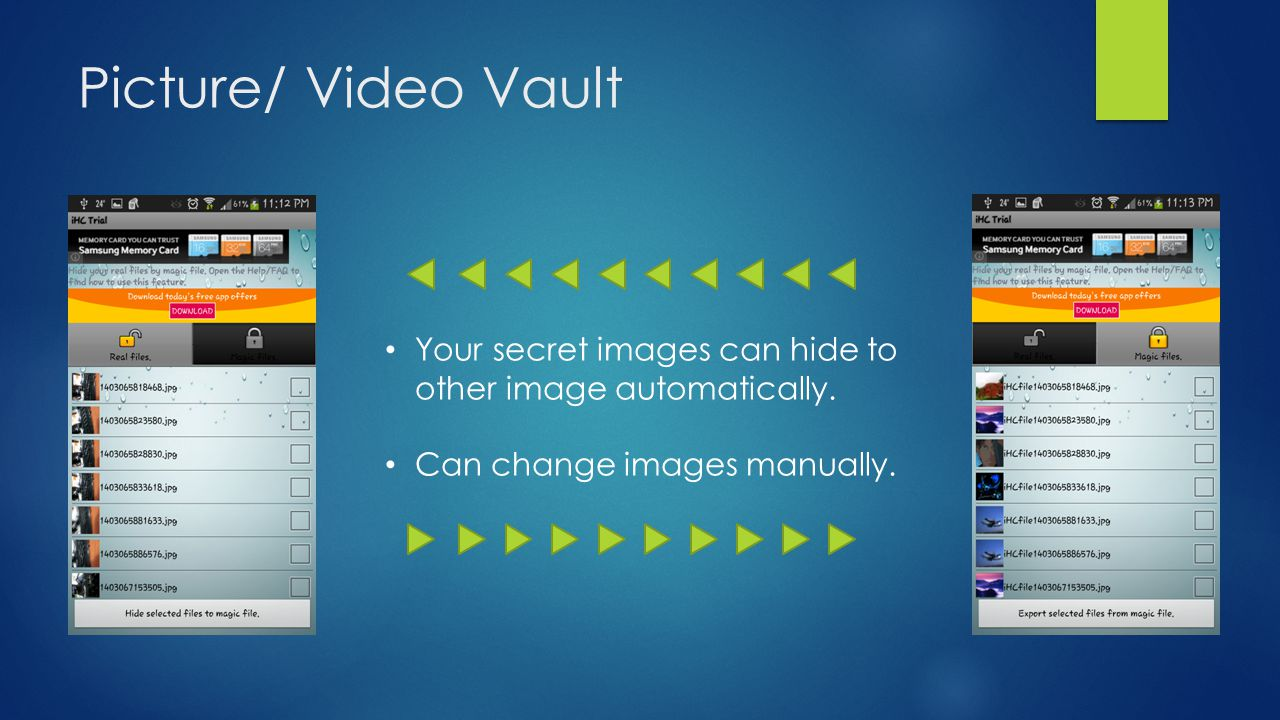 Picture/ Video Vault Your secret images can hide to other image automatically.