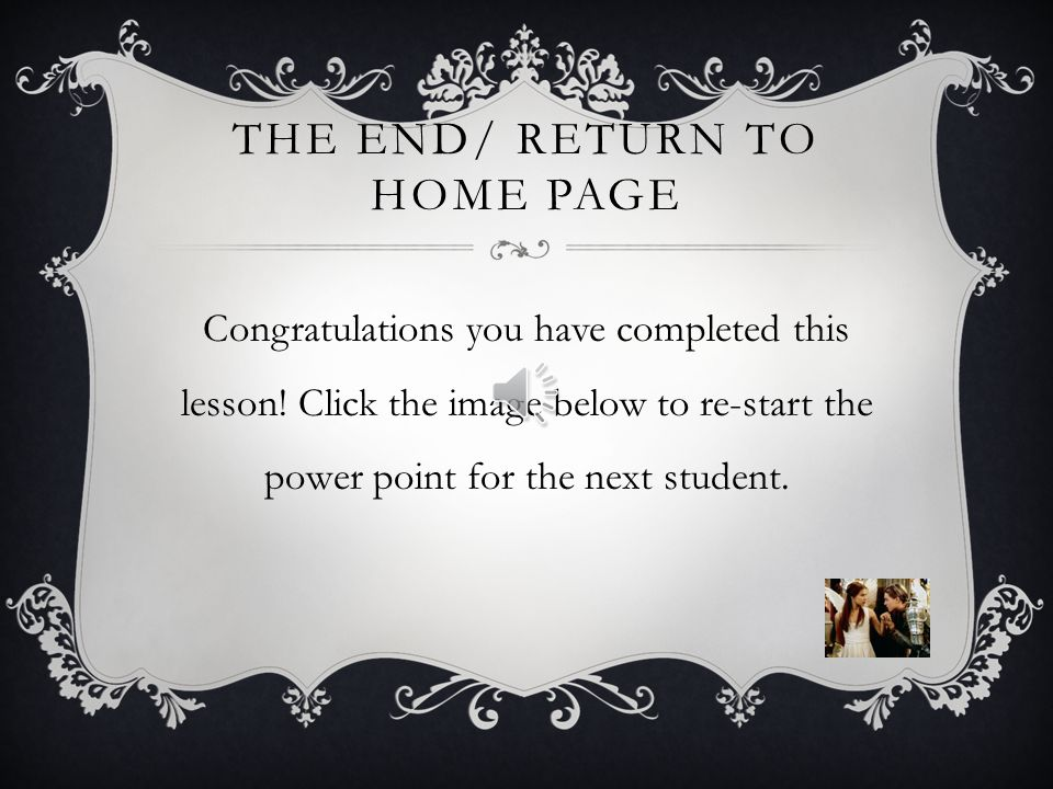 The end/ return to home page