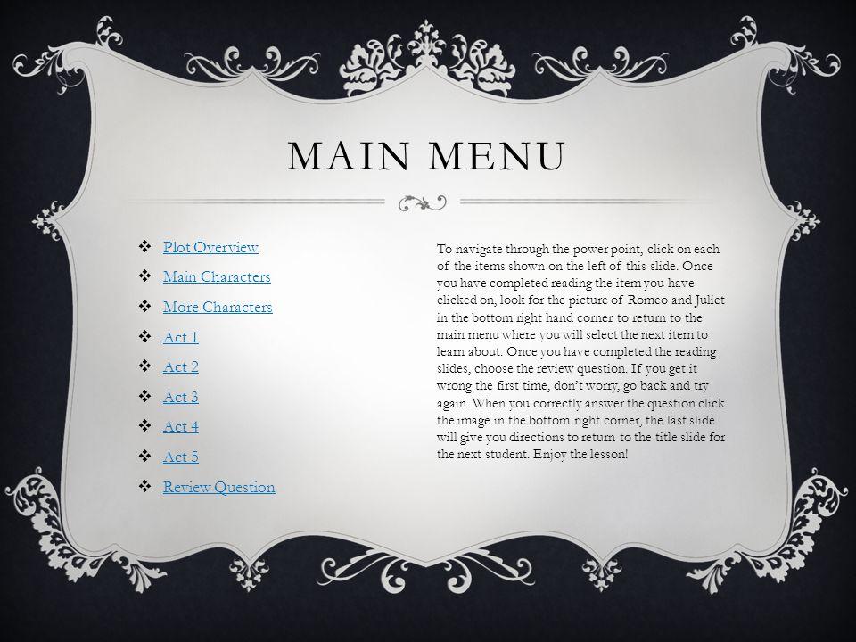 Main Menu Plot Overview Main Characters More Characters Act 1 Act 2
