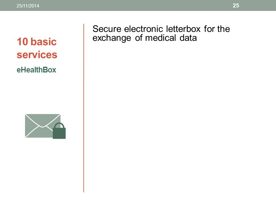 25/11/2014 10 basic services. Secure electronic letterbox for the exchange of medical data.