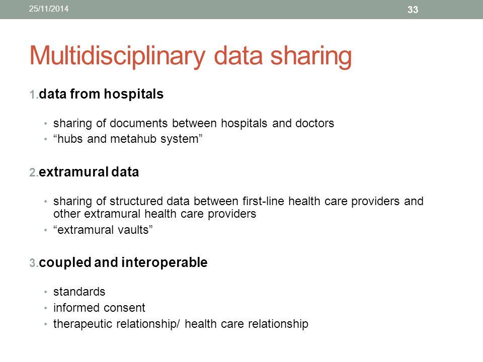 Multidisciplinary data sharing