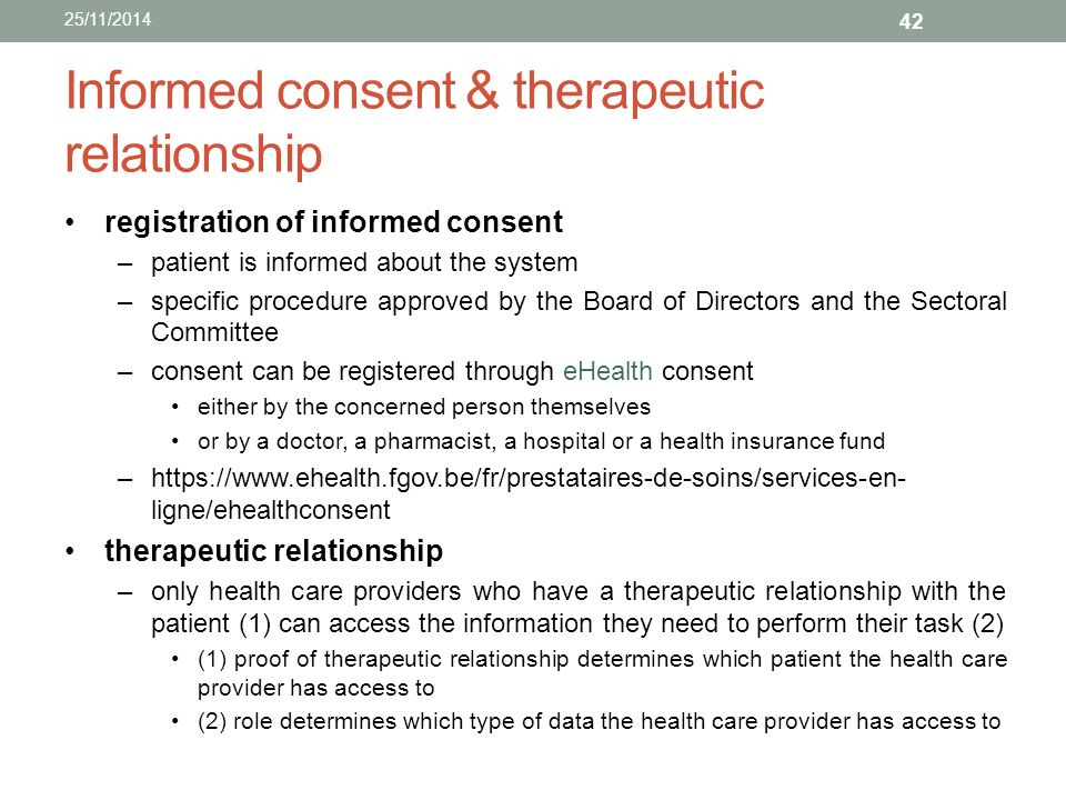 Informed consent & therapeutic relationship