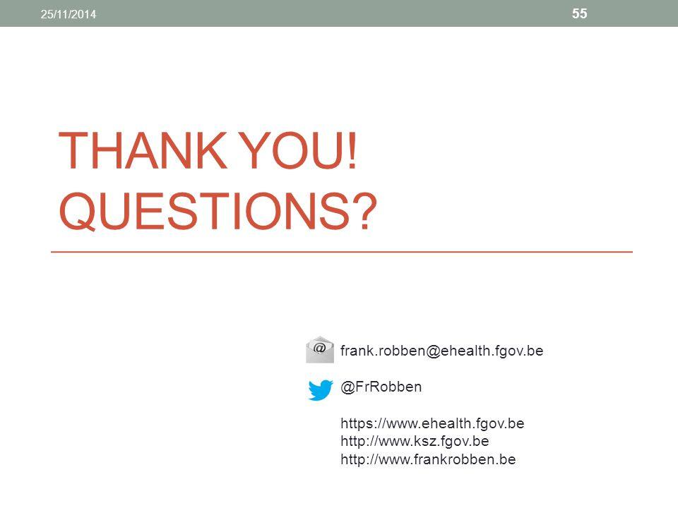 Thank you! Questions frank.robben@ehealth.fgov.be @FrRobben