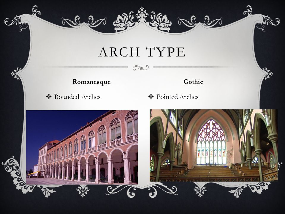 Arch Type Romanesque Gothic Rounded Arches Pointed Arches