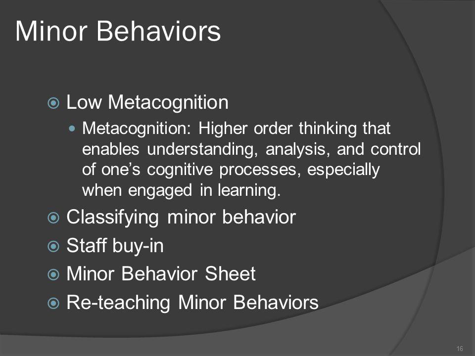 Minor Behaviors Low Metacognition Classifying minor behavior