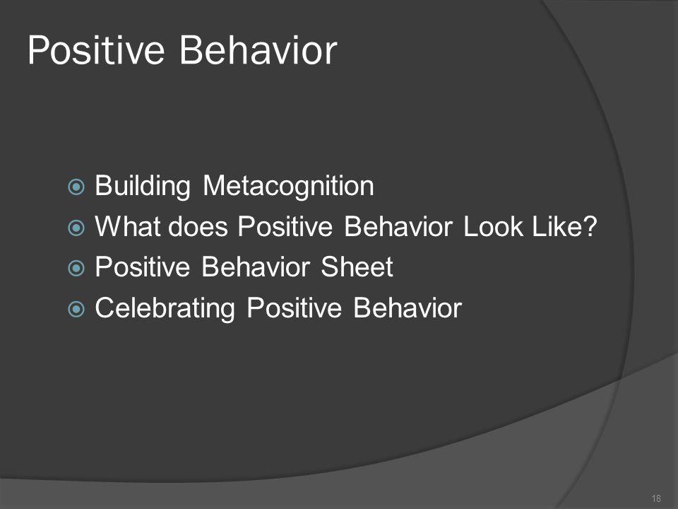 Positive Behavior Building Metacognition