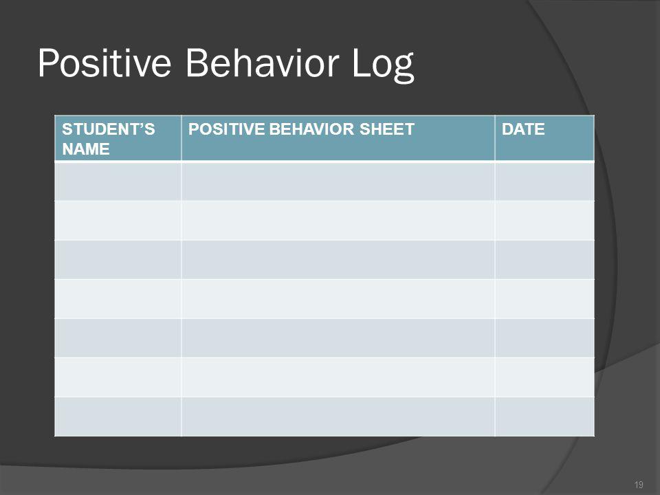 Positive Behavior Log STUDENT'S NAME POSITIVE BEHAVIOR SHEET DATE