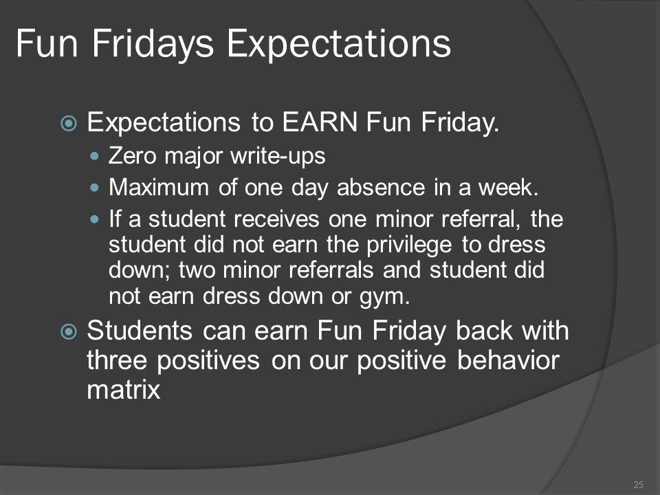 Fun Fridays Expectations