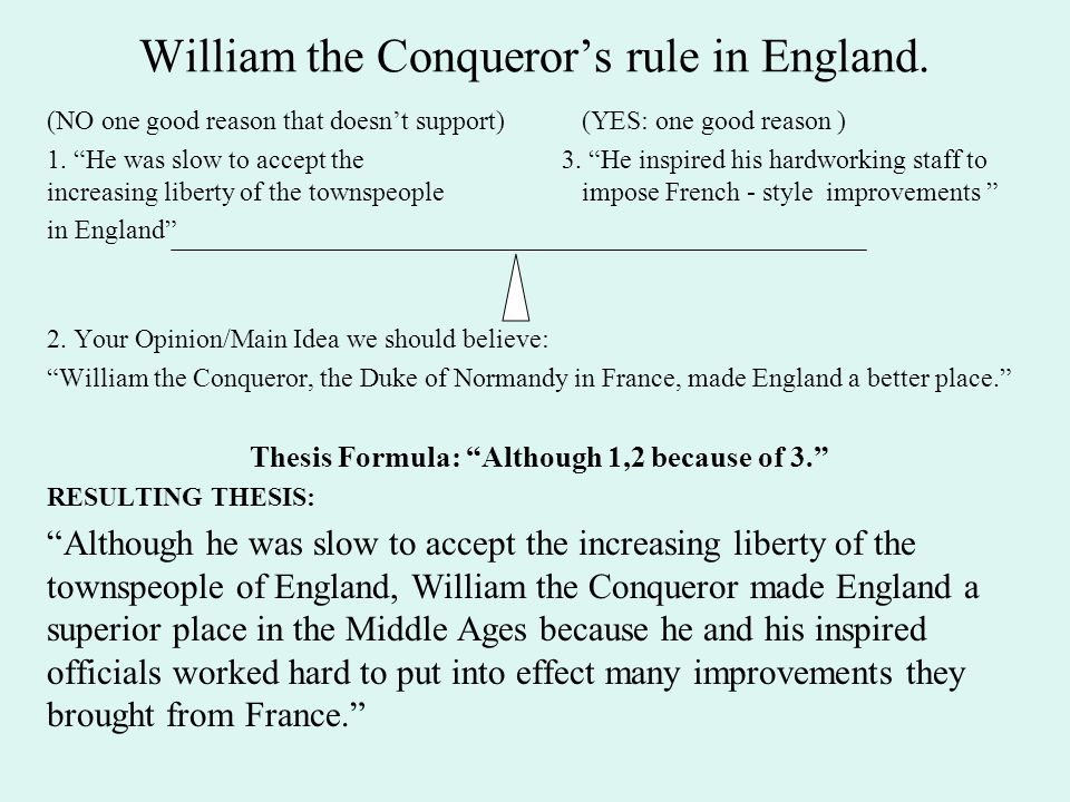 William the Conqueror's rule in England.