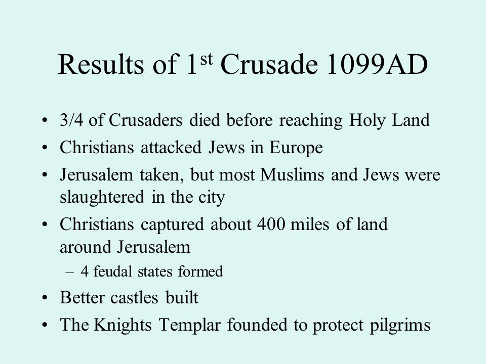 Results of 1st Crusade 1099AD