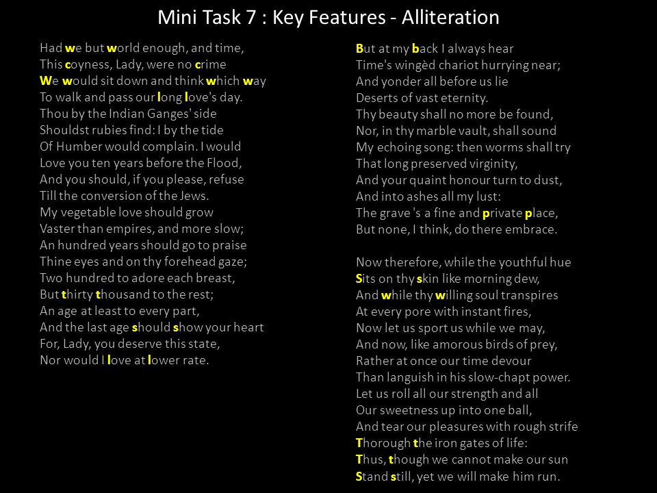 Mini Task 7 : Key Features - Alliteration