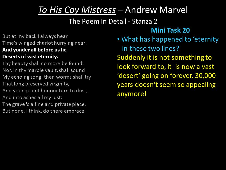 a comparison of andrew marvells to his The first poem is called 'to his coy mistress' and is by andrew marvell the second poem is called 'an answer to a love-letter' and is by lady mary.