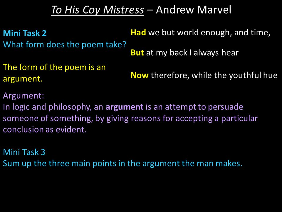 TO HIS COY MISTRESS BY ANDREW MARVELL: AN ANALYSIS.