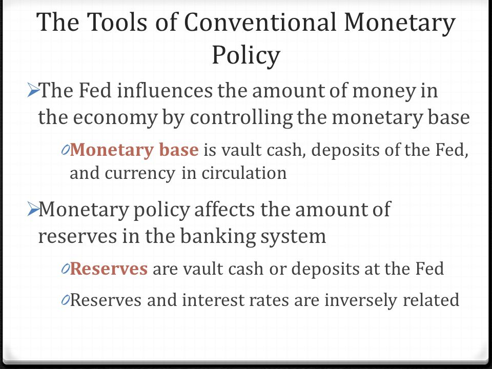 The Tools of Conventional Monetary Policy