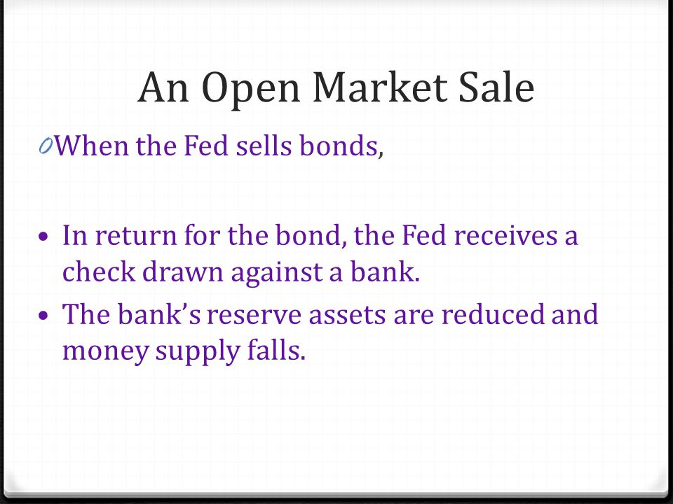 An Open Market Sale When the Fed sells bonds,