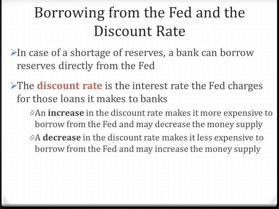 Borrowing from the Fed and the Discount Rate