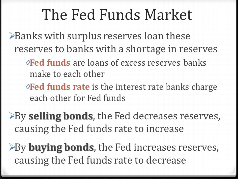 The Fed Funds Market Banks with surplus reserves loan these reserves to banks with a shortage in reserves.
