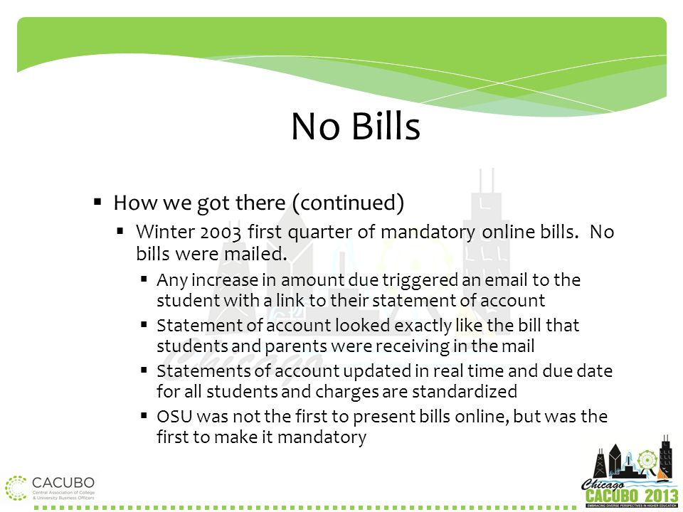 No Bills How we got there (continued)