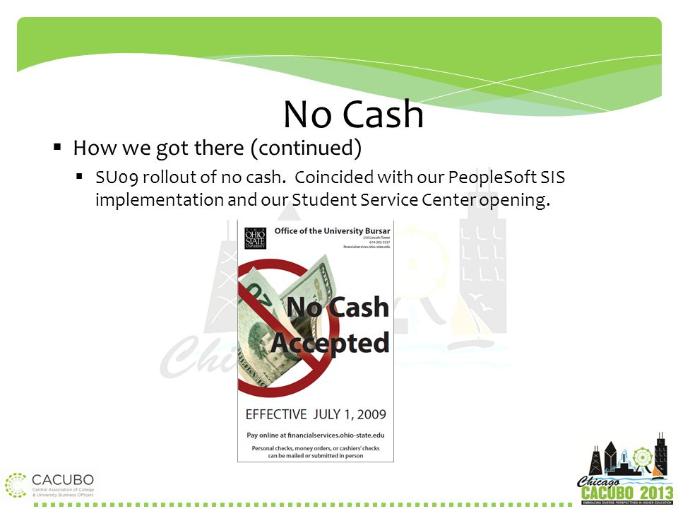 No Cash How we got there (continued)