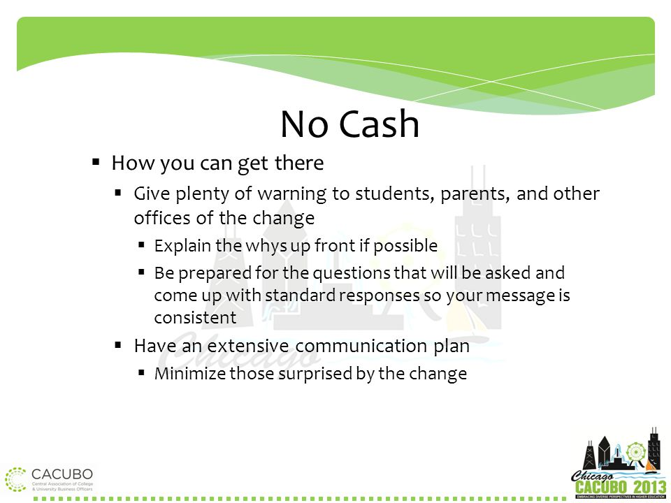 No Cash How you can get there