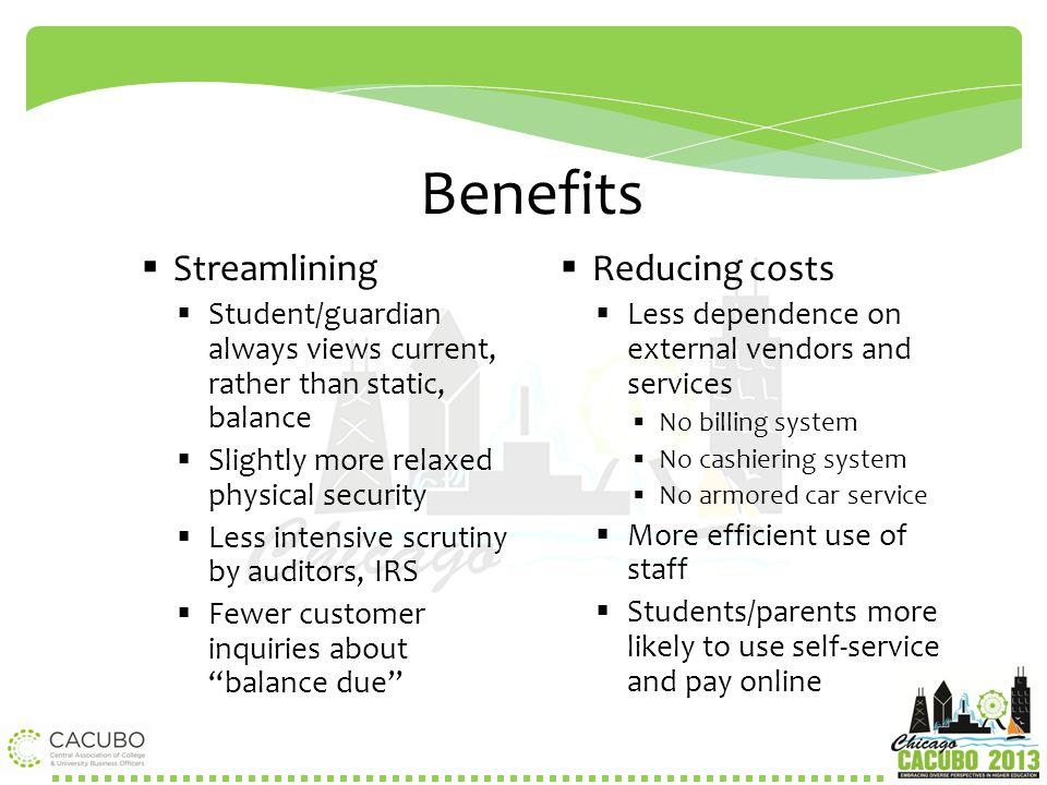 Benefits Streamlining Reducing costs