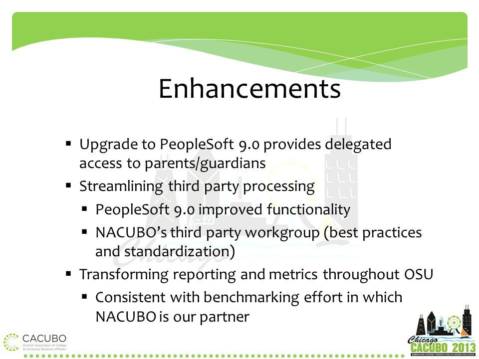 Enhancements Upgrade to PeopleSoft 9.0 provides delegated access to parents/guardians. Streamlining third party processing.