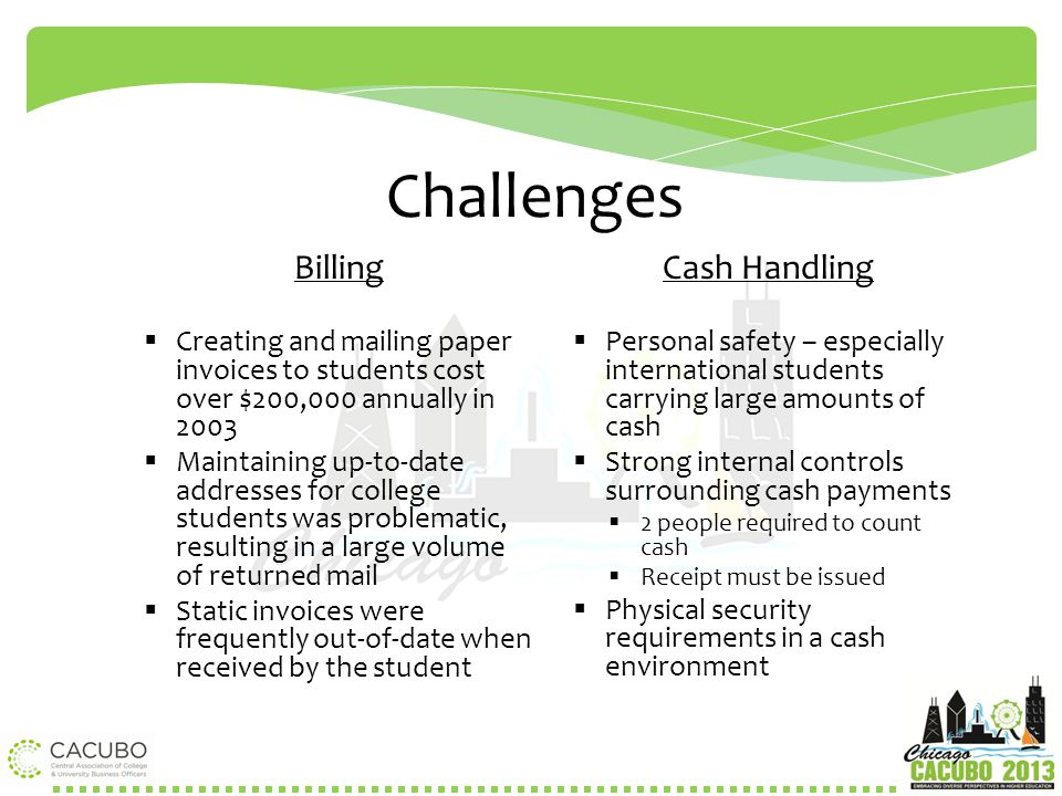 Challenges Billing Cash Handling