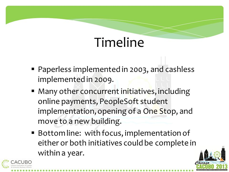 Timeline Paperless implemented in 2003, and cashless implemented in 2009.