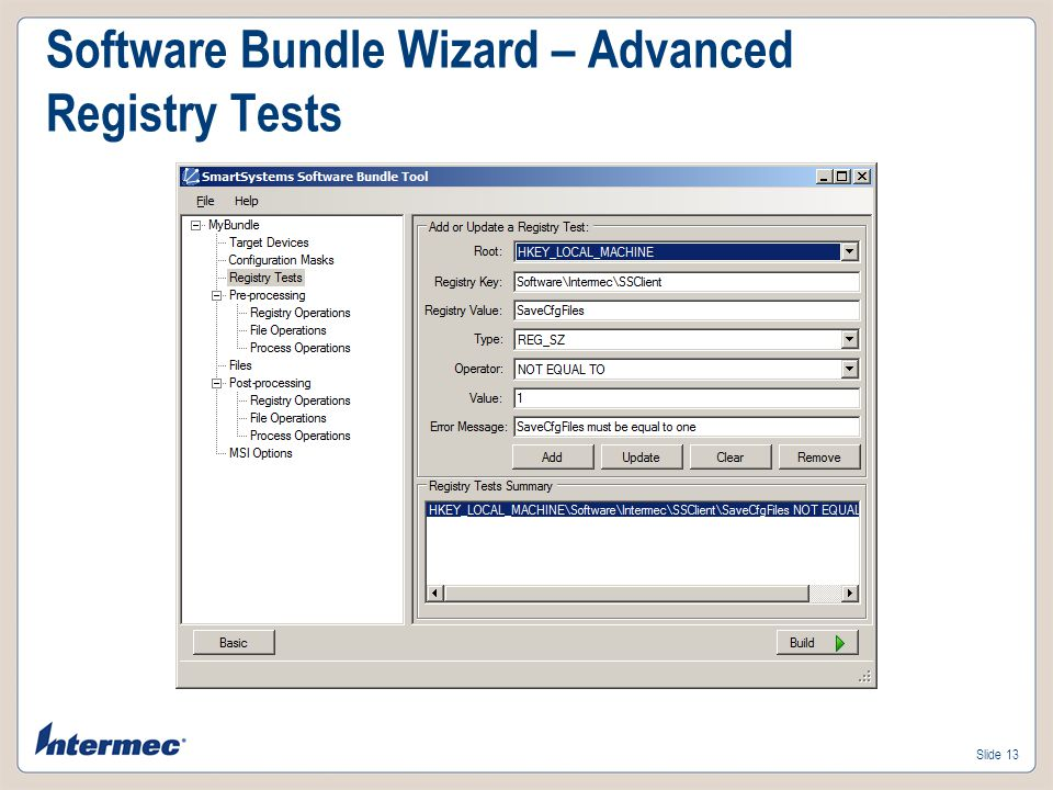 Software Bundle Wizard – Advanced Registry Tests