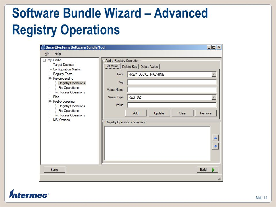 Software Bundle Wizard – Advanced Registry Operations
