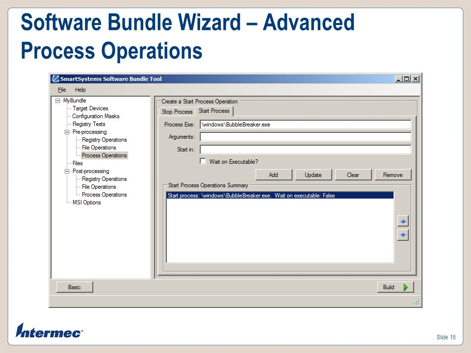 Software Bundle Wizard – Advanced Process Operations