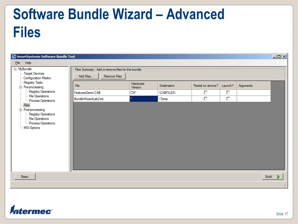Software Bundle Wizard – Advanced Files