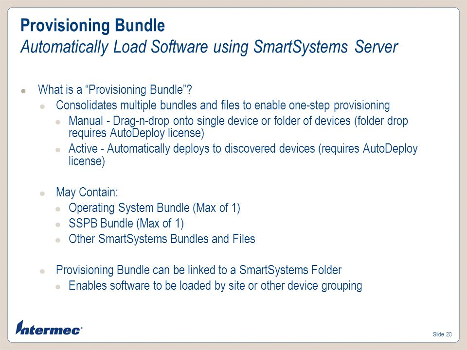 Provisioning Bundle Automatically Load Software using SmartSystems Server