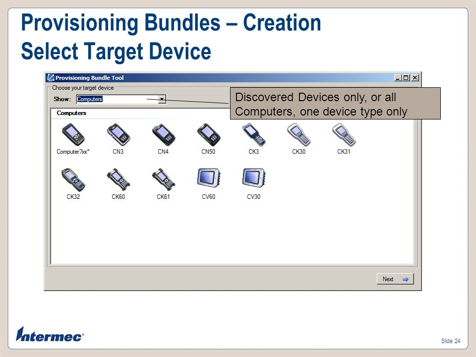 Provisioning Bundles – Creation Select Target Device