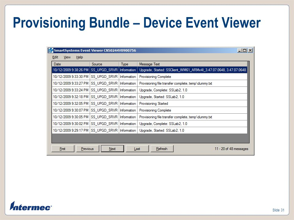 Provisioning Bundle – Device Event Viewer