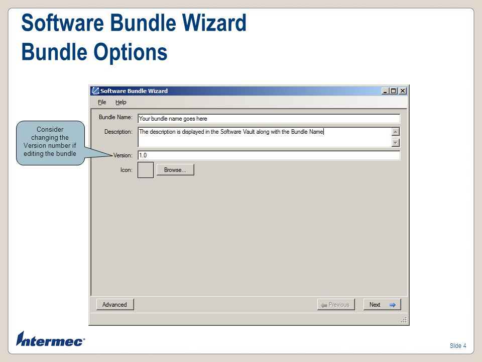 Software Bundle Wizard Bundle Options