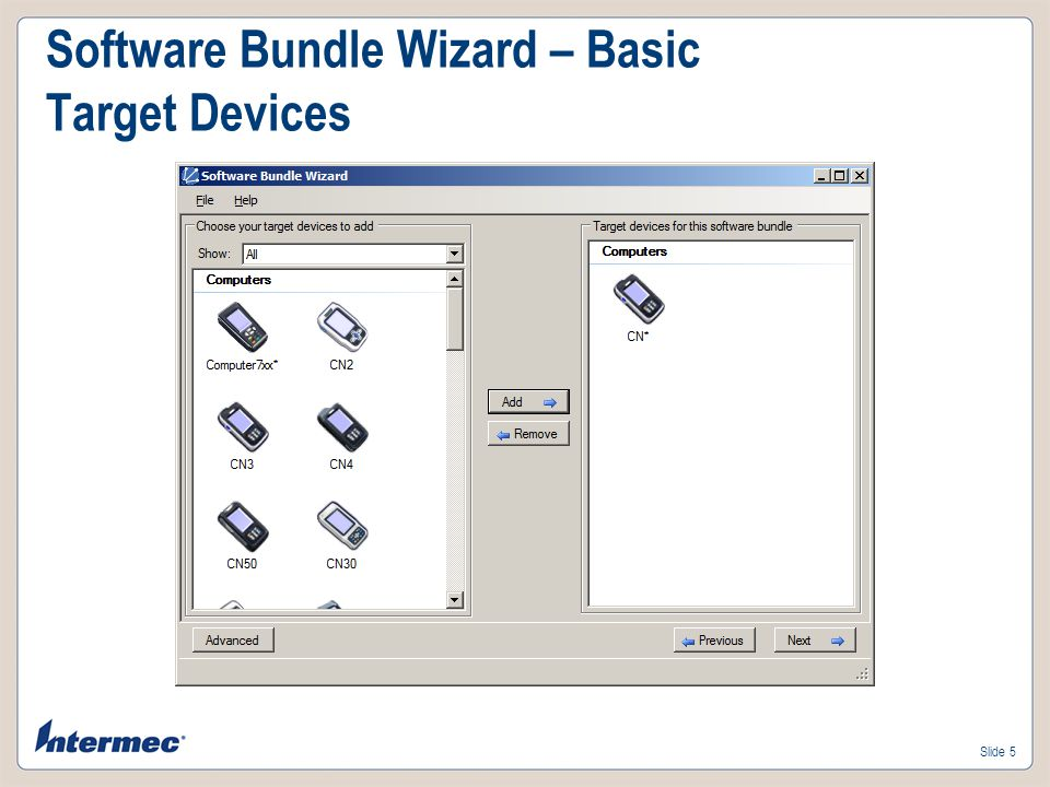 Software Bundle Wizard – Basic Target Devices