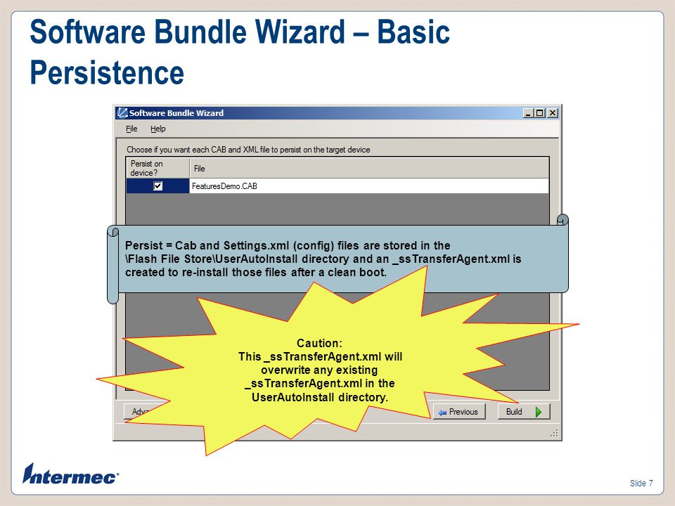 Software Bundle Wizard – Basic Persistence