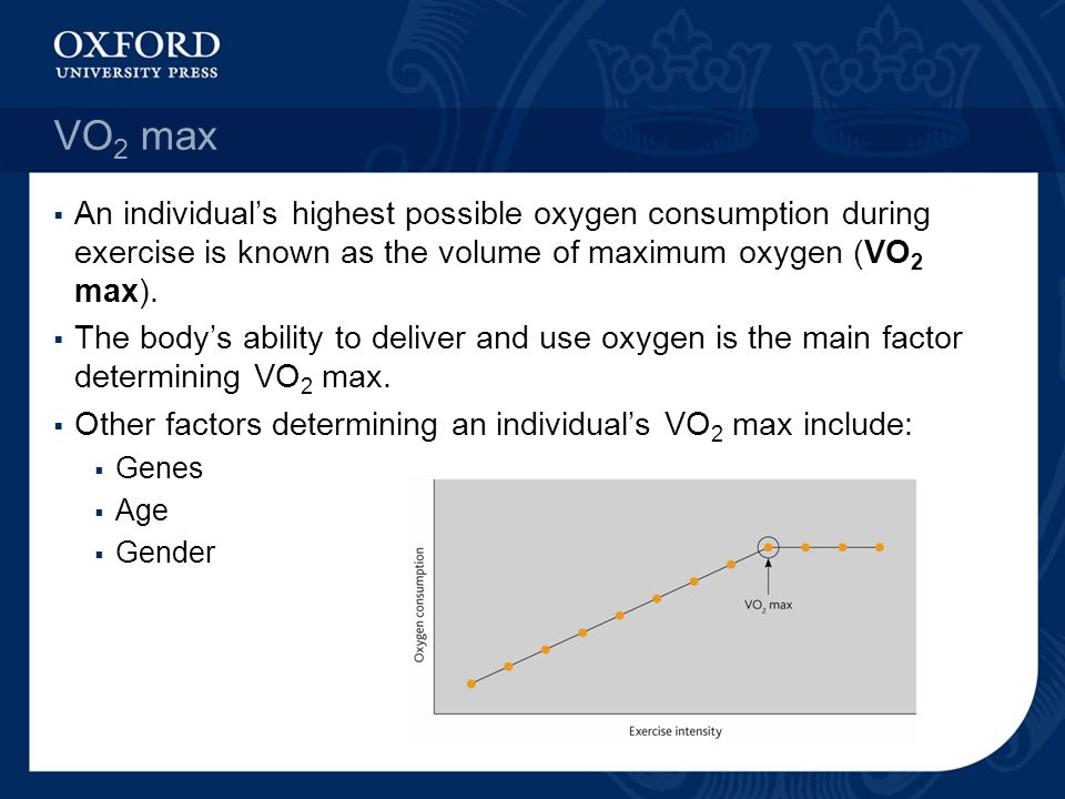 VO2 max An individual's highest possible oxygen consumption during exercise is known as the volume of maximum oxygen (VO2 max).